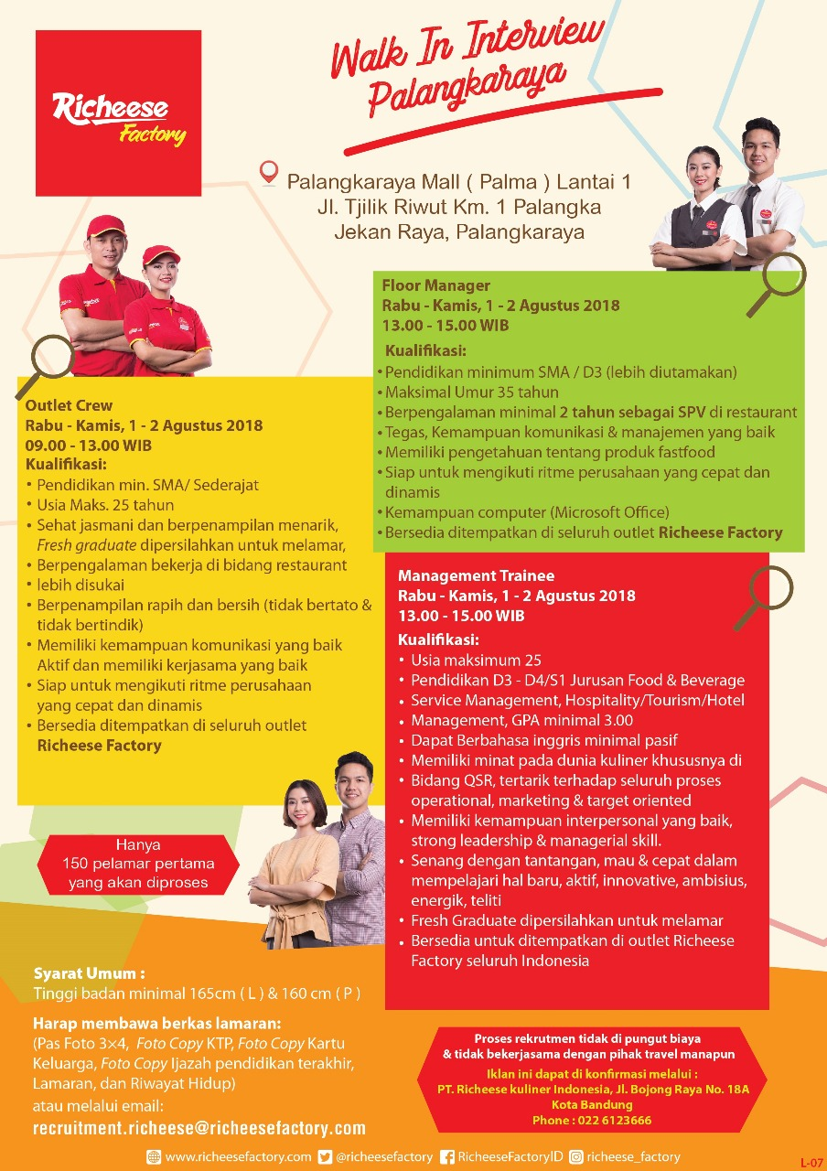 Walk In Interview Richeese Factory Exp 2 Aug 19 Alumni